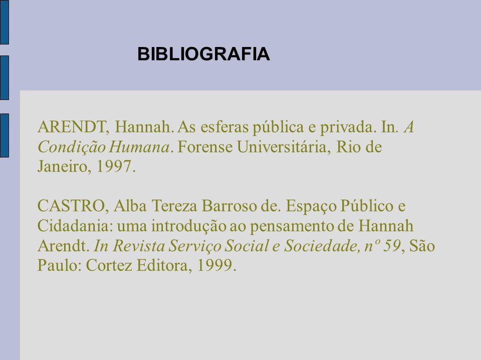 ARENDT, Hannah. As esferas pública e privada. In. A Condição Humana. Forense Universitária, Rio de Janeiro, 1997. CASTRO, Alba Tereza Barroso de. Espa