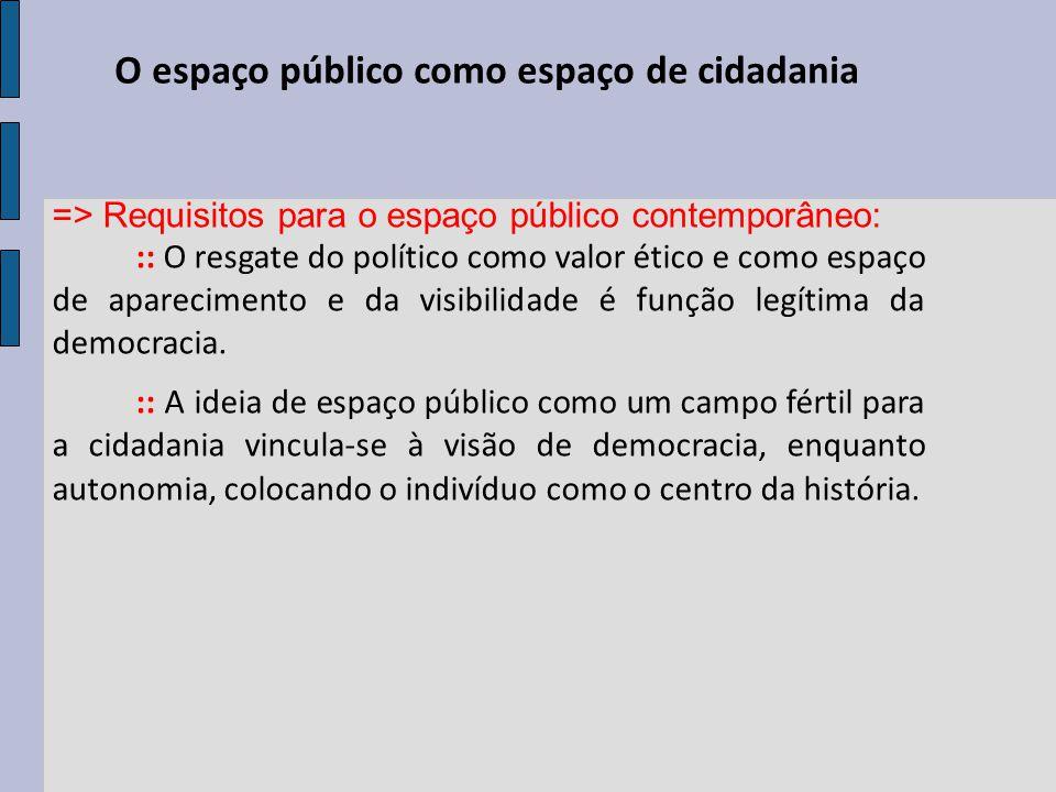 O espaço público como espaço de cidadania => Requisitos para o espaço público contemporâneo: :: O resgate do político como valor ético e como espaço de aparecimento e da visibilidade é função legítima da democracia.