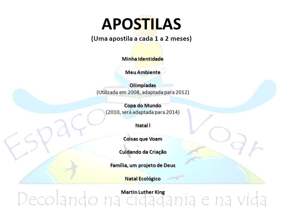 APOSTILAS (Uma apostila a cada 1 a 2 meses) Minha Identidade Meu Ambiente Olímpíadas (Utilizada em 2008, adaptada para 2012) Copa do Mundo (2010, será