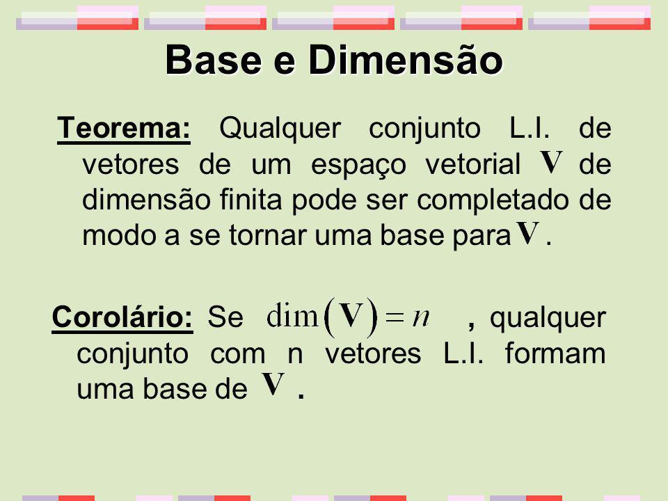 Base e Dimensão Teorema: Qualquer conjunto L.I. de vetores de um espaço vetorial de dimensão finita pode ser completado de modo a se tornar uma base p