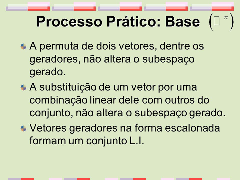 Processo Prático: Base A permuta de dois vetores, dentre os geradores, não altera o subespaço gerado. A substituição de um vetor por uma combinação li