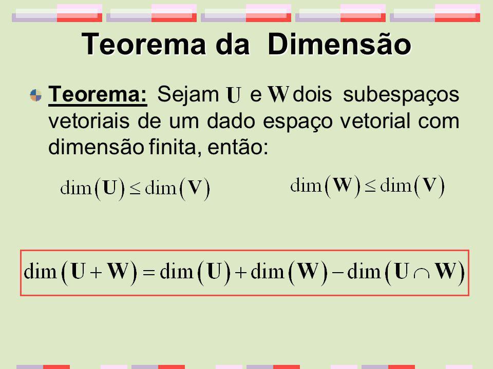 Teorema da Dimensão Teorema: Sejam e dois subespaços vetoriais de um dado espaço vetorial com dimensão finita, então:
