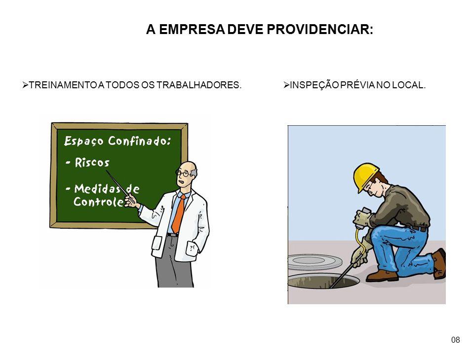 A EMPRESA DEVE PROVIDENCIAR:  TREINAMENTO A TODOS OS TRABALHADORES.  INSPEÇÃO PRÉVIA NO LOCAL. 08