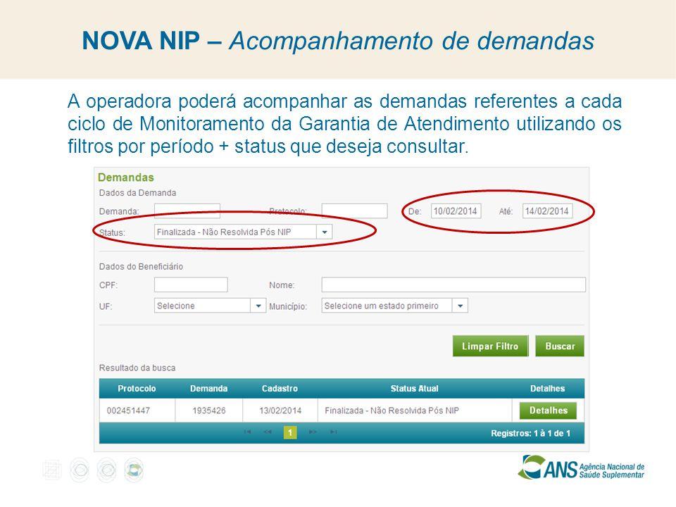 NOVA NIP – Acompanhamento de demandas A operadora poderá acompanhar as demandas referentes a cada ciclo de Monitoramento da Garantia de Atendimento ut