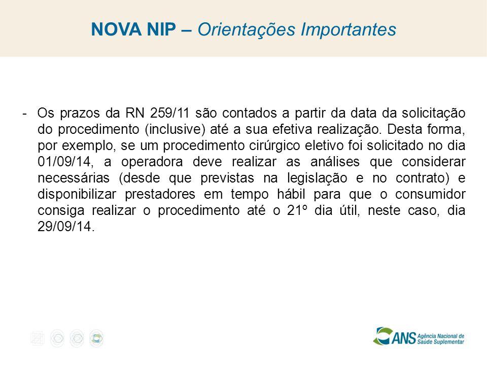 NOVA NIP – Orientações Importantes - Os prazos da RN 259/11 são contados a partir da data da solicitação do procedimento (inclusive) até a sua efetiva