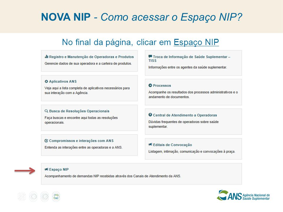 NOVA NIP - Como acessar o Espaço NIP? No final da página, clicar em Espaço NIP