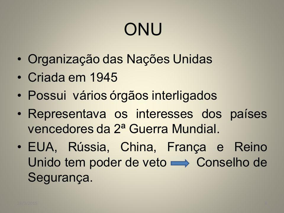 ONU Organização das Nações Unidas Criada em 1945 Possui vários órgãos interligados Representava os interesses dos países vencedores da 2ª Guerra Mundi