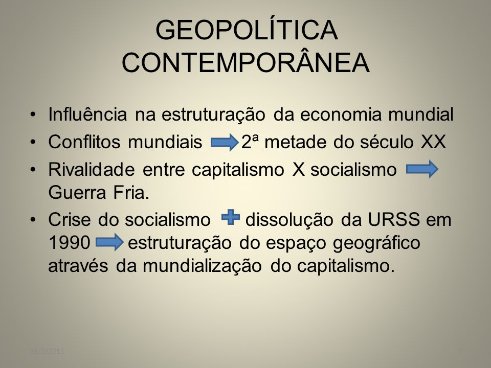 GEOPOLÍTICA CONTEMPORÂNEA Influência na estruturação da economia mundial Conflitos mundiais 2ª metade do século XX Rivalidade entre capitalismo X soci