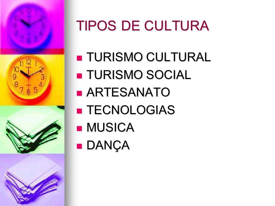TIPOS DE CULTURA TURISMO CULTURAL TURISMO CULTURAL TURISMO SOCIAL TURISMO SOCIAL ARTESANATO ARTESANATO TECNOLOGIAS TECNOLOGIAS MUSICA MUSICA DANÇA DAN