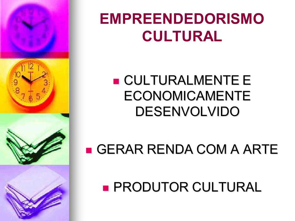 EMPREENDEDORISMO CULTURAL CULTURALMENTE E ECONOMICAMENTE DESENVOLVIDO CULTURALMENTE E ECONOMICAMENTE DESENVOLVIDO GERAR RENDA COM A ARTE GERAR RENDA C