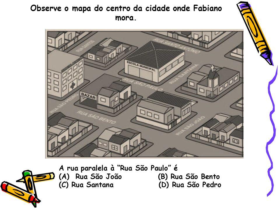 """Observe o mapa do centro da cidade onde Fabiano mora. A rua paralela à """"Rua São Paulo"""" é (A) Rua São João (B) Rua São Bento (C) Rua Santana (D) Rua Sã"""