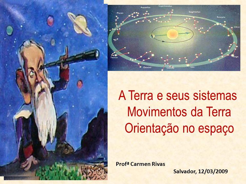 A Terra e seus sistemas Movimentos da Terra Orientação no espaço Profª Carmen Rivas Salvador, 12/03/2009