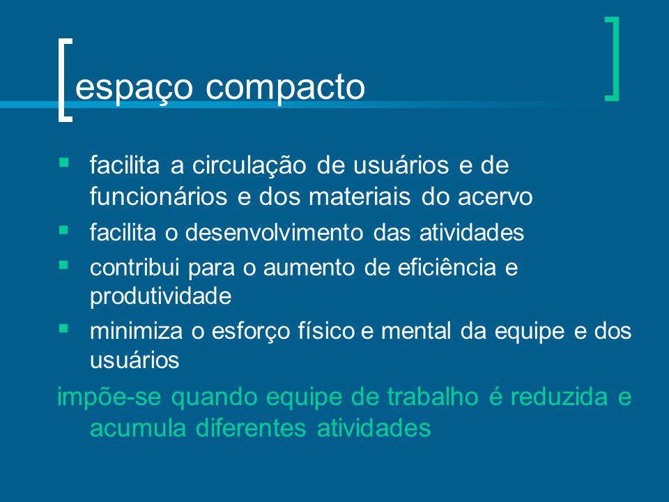 espaço compacto  facilita a circulação de usuários e de funcionários e dos materiais do acervo  facilita o desenvolvimento das atividades  contribu