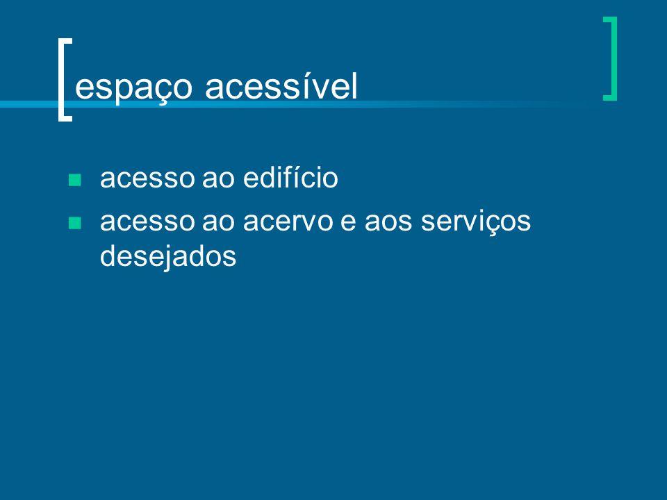 espaço acessível acesso ao edifício acesso ao acervo e aos serviços desejados
