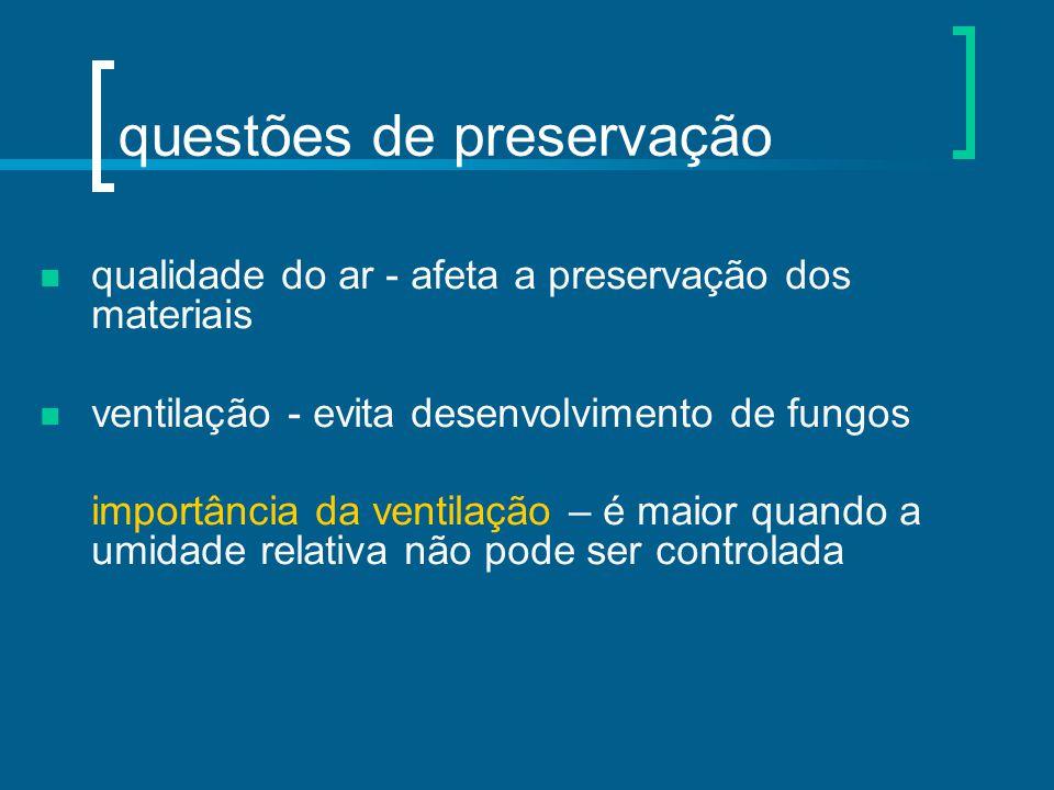 questões de preservação qualidade do ar - afeta a preservação dos materiais ventilação - evita desenvolvimento de fungos importância da ventilação – é