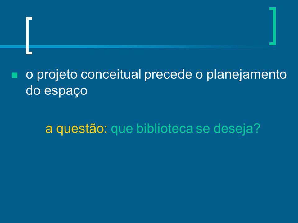 o projeto conceitual precede o planejamento do espaço a questão: que biblioteca se deseja?