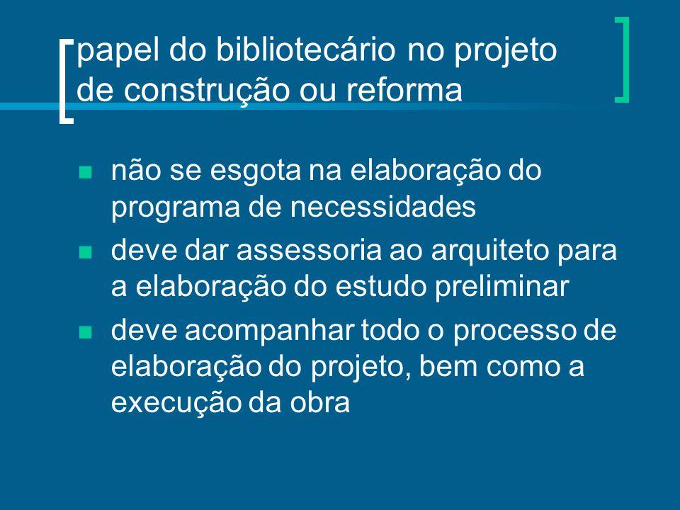 papel do bibliotecário no projeto de construção ou reforma não se esgota na elaboração do programa de necessidades deve dar assessoria ao arquiteto pa