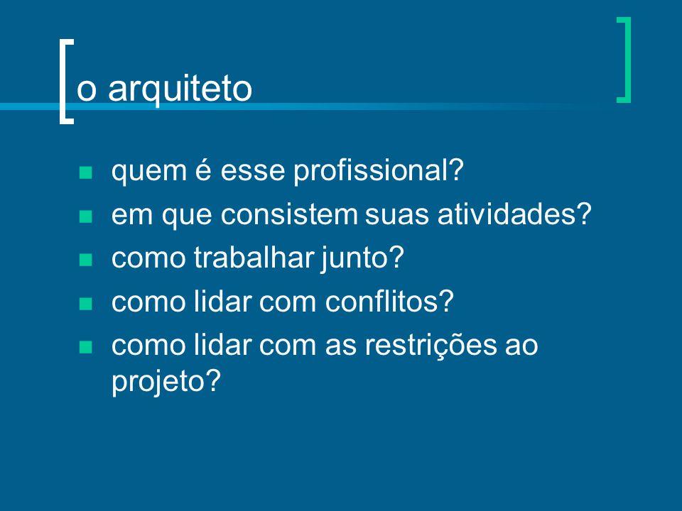 o arquiteto quem é esse profissional? em que consistem suas atividades? como trabalhar junto? como lidar com conflitos? como lidar com as restrições a