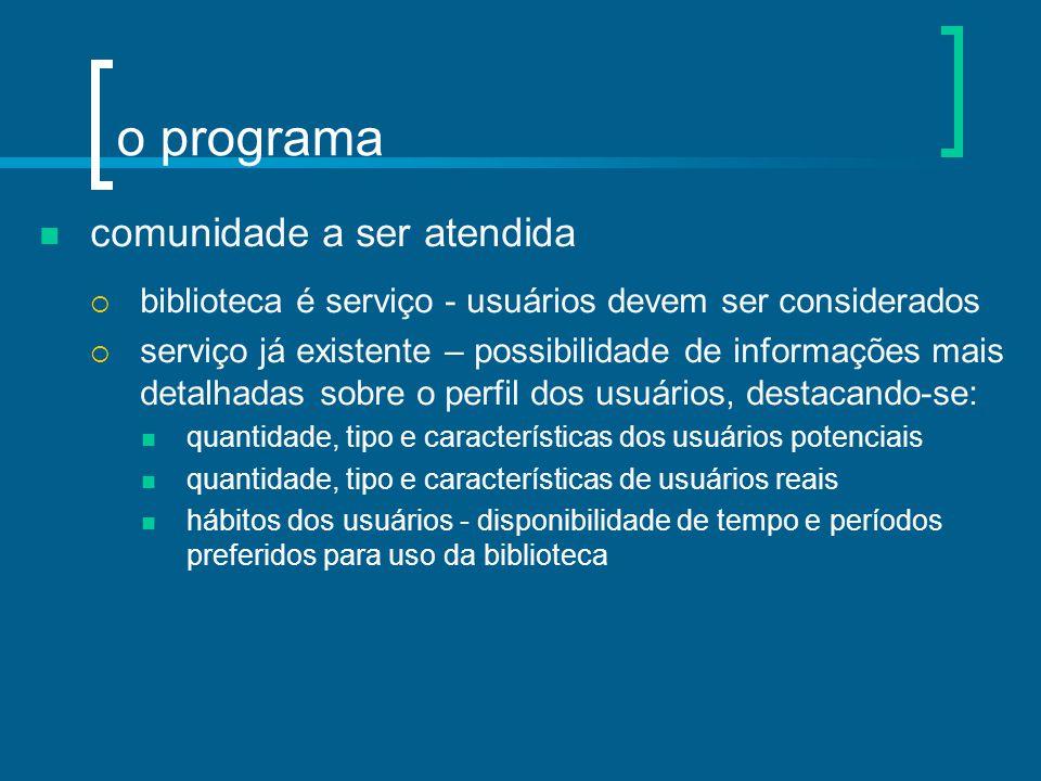 o programa comunidade a ser atendida  biblioteca é serviço - usuários devem ser considerados  serviço já existente – possibilidade de informações ma