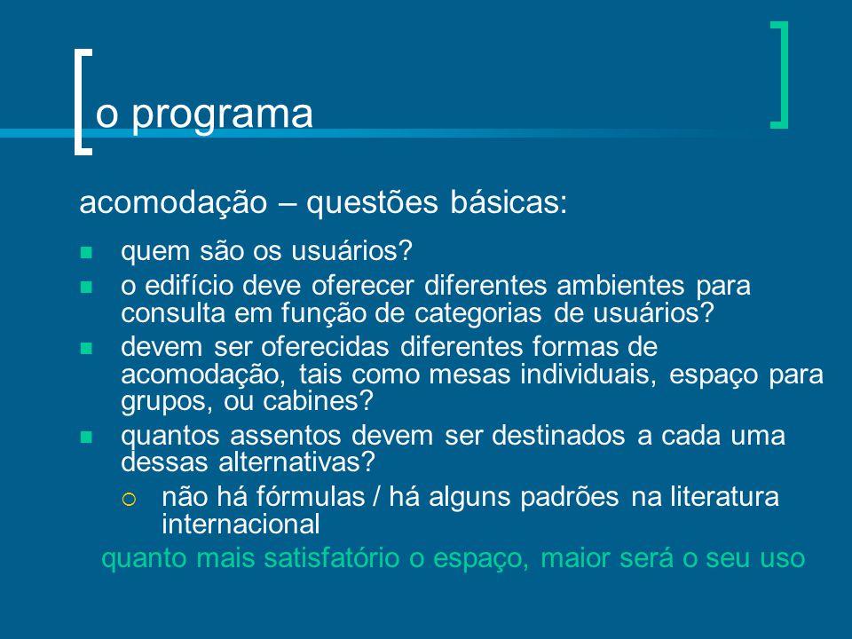 o programa acomodação – questões básicas: quem são os usuários? o edifício deve oferecer diferentes ambientes para consulta em função de categorias de