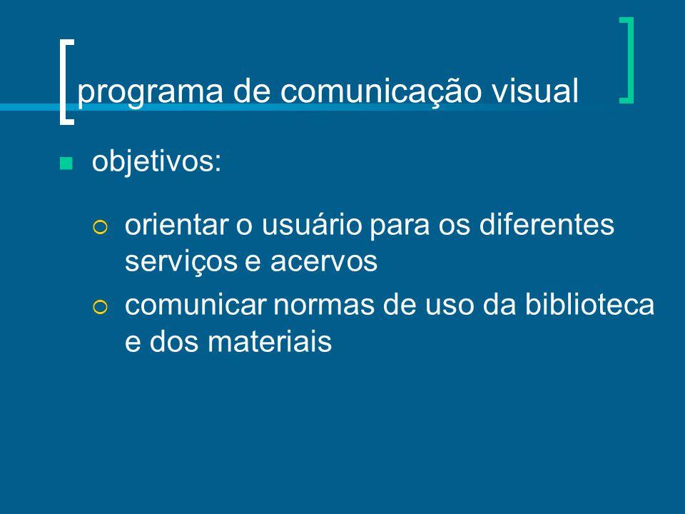 objetivos:  orientar o usuário para os diferentes serviços e acervos  comunicar normas de uso da biblioteca e dos materiais