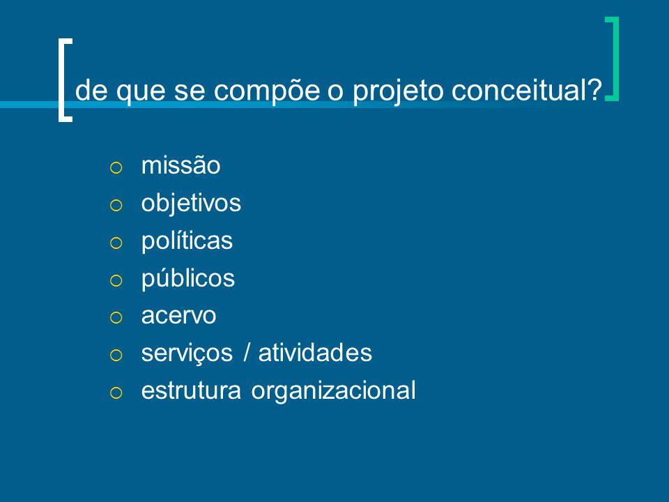 de que se compõe o projeto conceitual?  missão  objetivos  políticas  públicos  acervo  serviços / atividades  estrutura organizacional