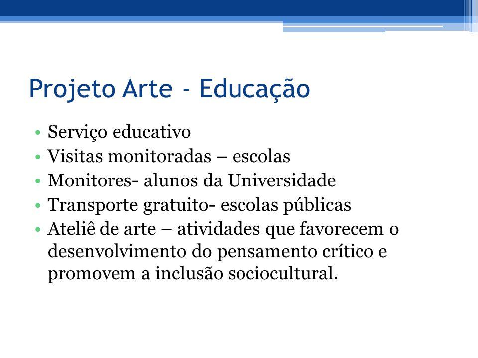 Projeto Arte - Educação Serviço educativo Visitas monitoradas – escolas Monitores- alunos da Universidade Transporte gratuito- escolas públicas Ateliê