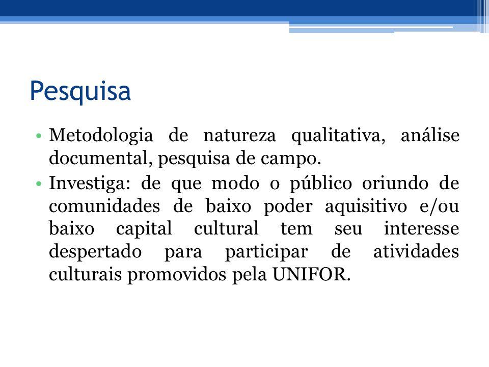 Pesquisa Metodologia de natureza qualitativa, análise documental, pesquisa de campo. Investiga: de que modo o público oriundo de comunidades de baixo