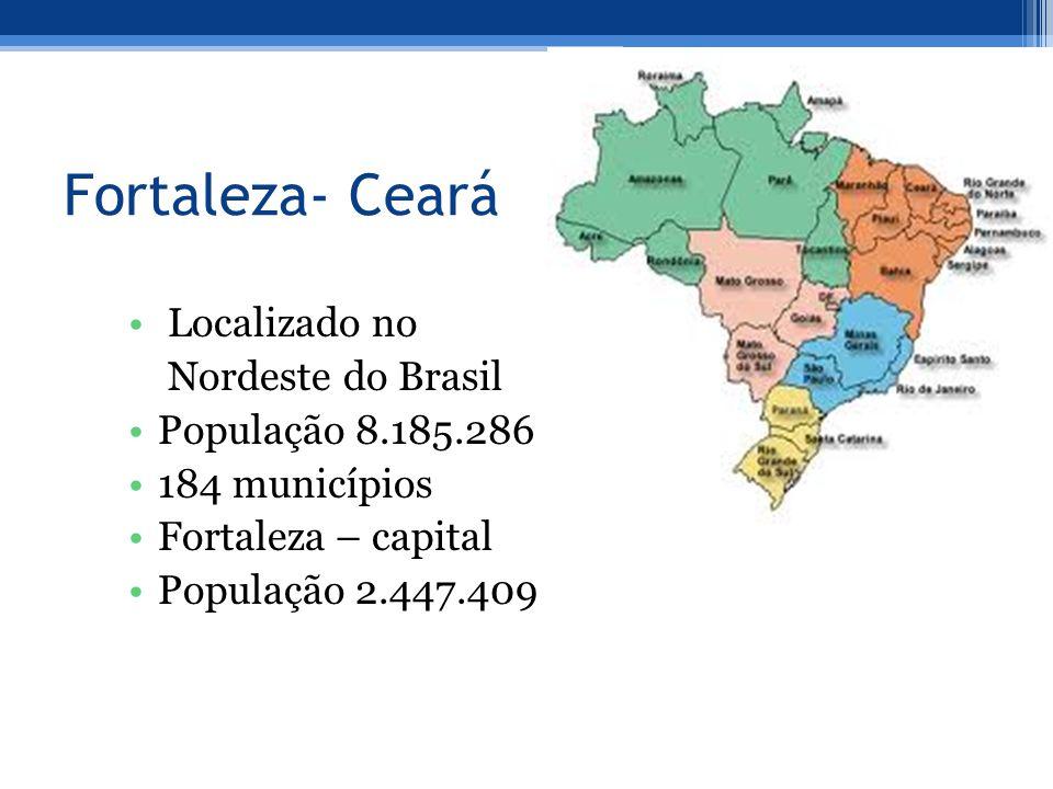 Fortaleza- Ceará Localizado no Nordeste do Brasil População 8.185.286 184 municípios Fortaleza – capital População 2.447.409