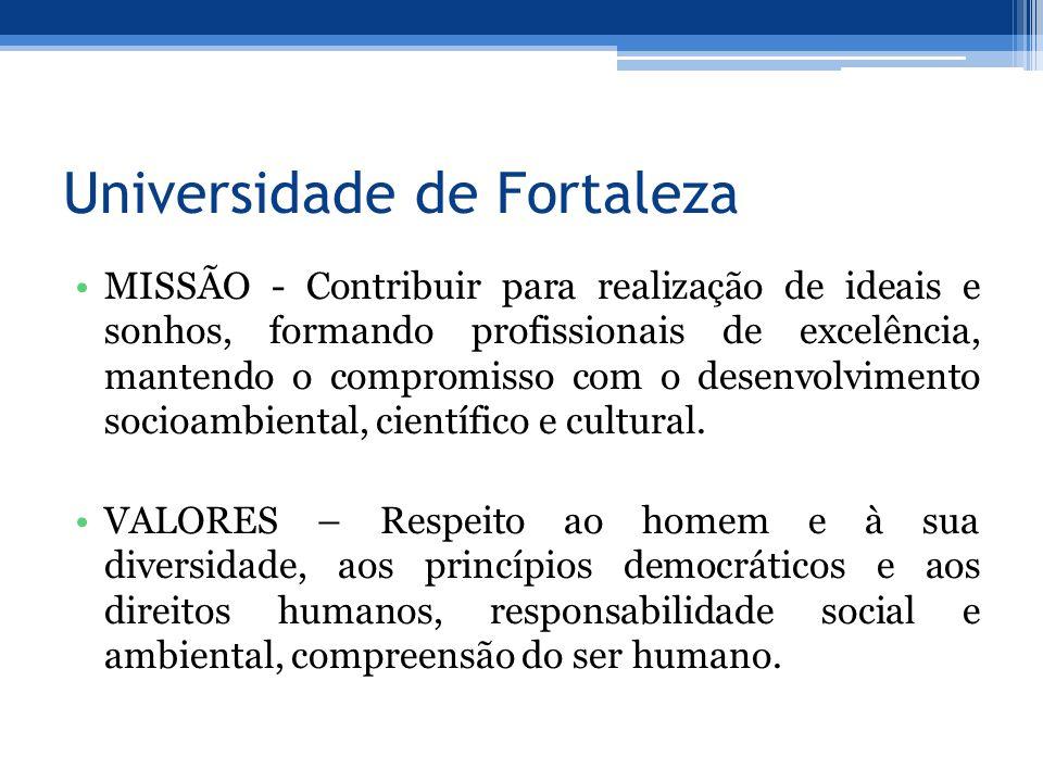 Universidade de Fortaleza MISSÃO - Contribuir para realização de ideais e sonhos, formando profissionais de excelência, mantendo o compromisso com o desenvolvimento socioambiental, científico e cultural.
