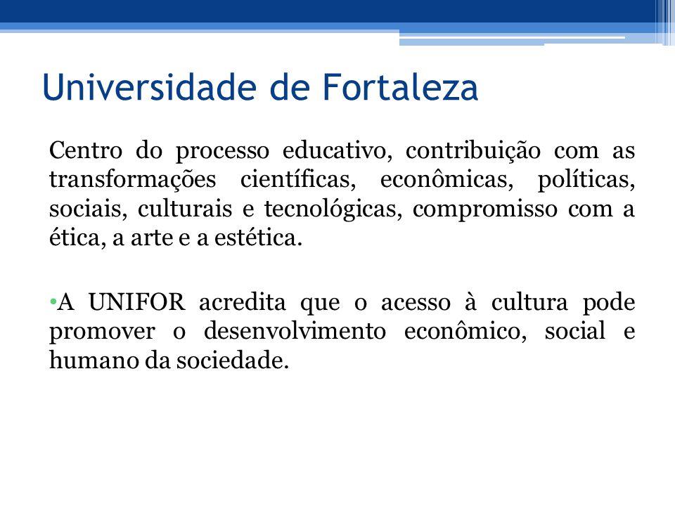Universidade de Fortaleza Centro do processo educativo, contribuição com as transformações científicas, econômicas, políticas, sociais, culturais e tecnológicas, compromisso com a ética, a arte e a estética.