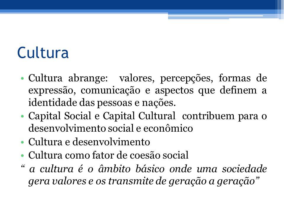 Cultura Cultura abrange: valores, percepções, formas de expressão, comunicação e aspectos que definem a identidade das pessoas e nações. Capital Socia