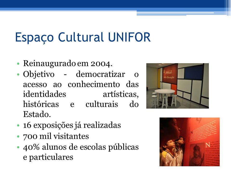 Espaço Cultural UNIFOR Reinaugurado em 2004. Objetivo - democratizar o acesso ao conhecimento das identidades artísticas, históricas e culturais do Es