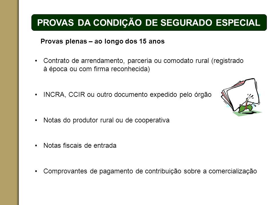 ESPAÇO RESERVADO PARA O NOME DO PROJETO | TÓPICO PROVAS DA CONDIÇÃO DE SEGURADO ESPECIAL Contrato de arrendamento, parceria ou comodato rural (registr