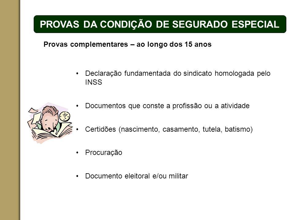 ESPAÇO RESERVADO PARA O NOME DO PROJETO | TÓPICO PROVAS DA CONDIÇÃO DE SEGURADO ESPECIAL Provas complementares – ao longo dos 15 anos Documentos que c