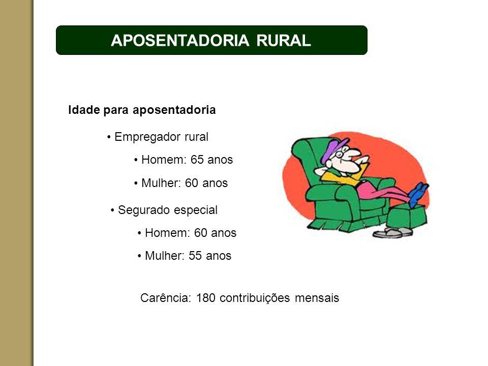 ESPAÇO RESERVADO PARA O NOME DO PROJETO | TÓPICO APOSENTADORIA RURAL Idade para aposentadoria Empregador rural Homem: 65 anos Mulher: 60 anos Segurado