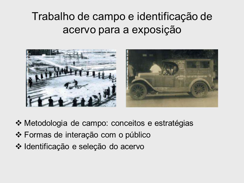 Trabalho de campo e identificação de acervo para a exposição  Metodologia de campo: conceitos e estratégias  Formas de interação com o público  Ide