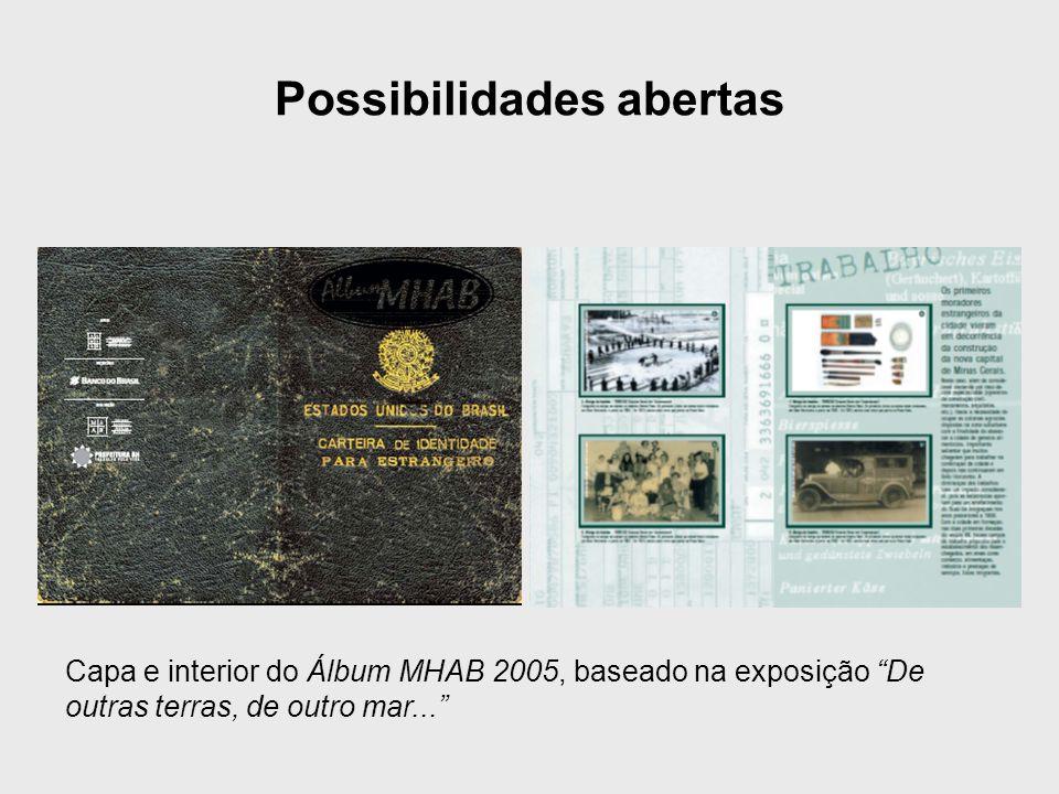 """Possibilidades abertas Capa e interior do Álbum MHAB 2005, baseado na exposição """"De outras terras, de outro mar..."""""""