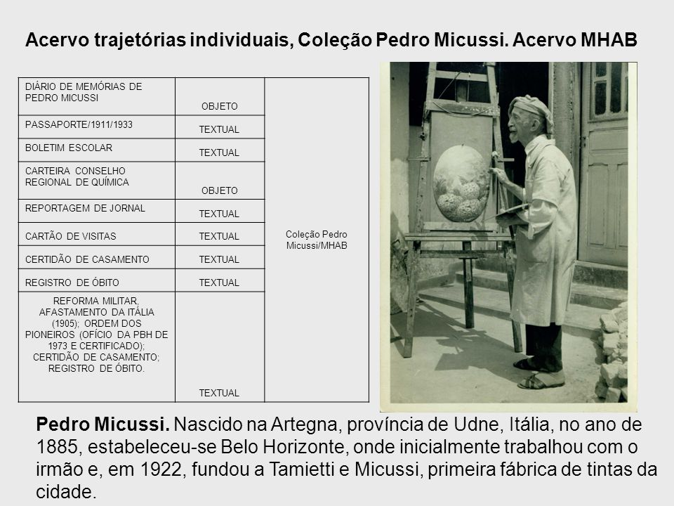 DIÁRIO DE MEMÓRIAS DE PEDRO MICUSSI OBJETO Coleção Pedro Micussi/MHAB PASSAPORTE/1911/1933 TEXTUAL BOLETIM ESCOLAR TEXTUAL CARTEIRA CONSELHO REGIONAL