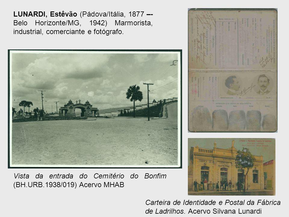 LUNARDI, Estêvão (Pádova/Itália, 1877 –- Belo Horizonte/MG, 1942) Marmorista, industrial, comerciante e fotógrafo. Vista da entrada do Cemitério do Bo