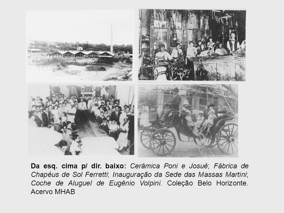Da esq. cima p/ dir. baixo: Cerâmica Poni e Josué; Fábrica de Chapéus de Sol Ferretti; Inauguração da Sede das Massas Martini; Coche de Aluguel de Eug