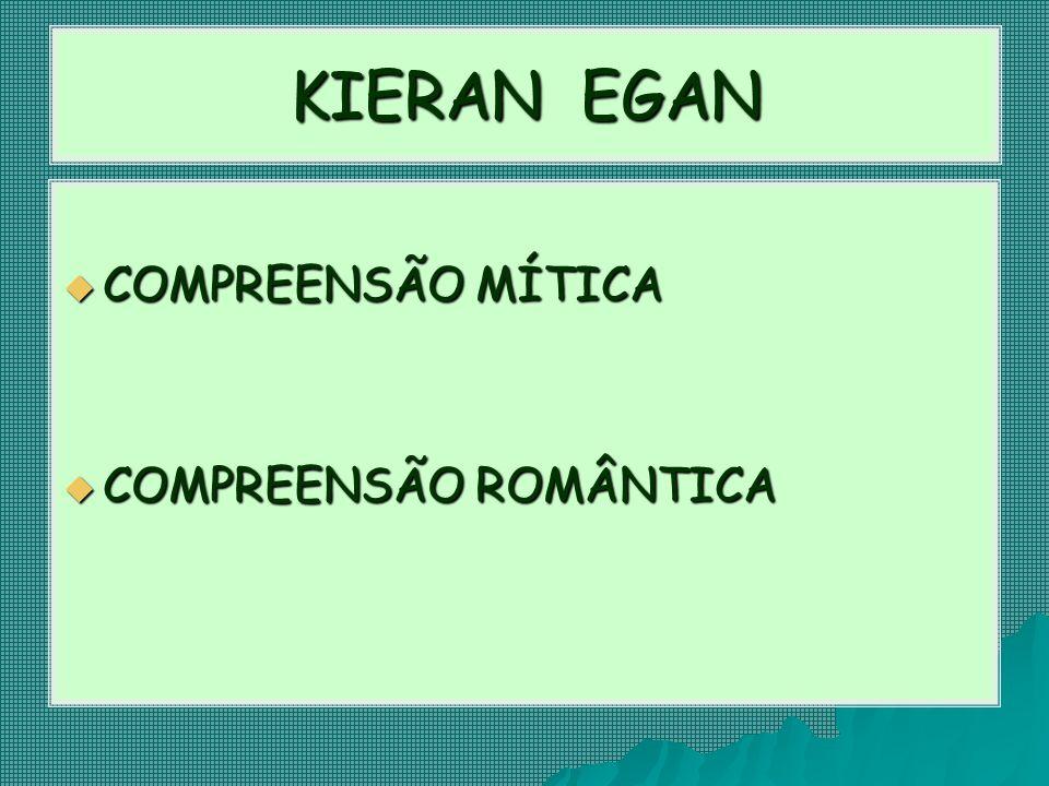 KIERAN EGAN  COMPREENSÃO MÍTICA  COMPREENSÃO ROMÂNTICA