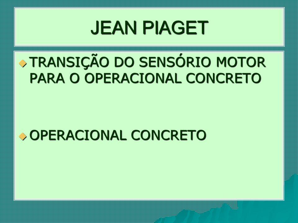 JEAN PIAGET  TRANSIÇÃO DO SENSÓRIO MOTOR PARA O OPERACIONAL CONCRETO  OPERACIONAL CONCRETO