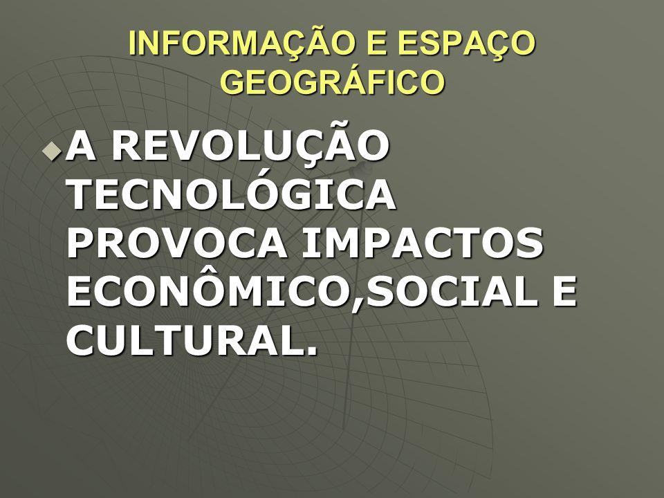 INFORMAÇÃO E ESPAÇO GEOGRÁFICO  A REVOLUÇÃO TECNOLÓGICA PROVOCA IMPACTOS ECONÔMICO,SOCIAL E CULTURAL.