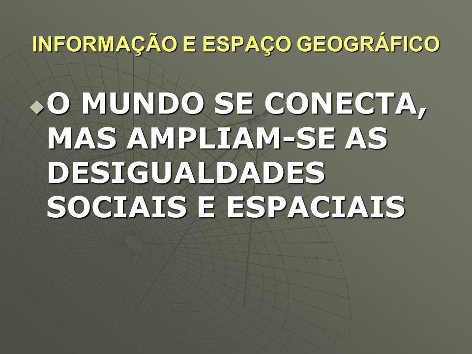 INFORMAÇÃO E ESPAÇO GEOGRÁFICO  O MUNDO SE CONECTA, MAS AMPLIAM-SE AS DESIGUALDADES SOCIAIS E ESPACIAIS