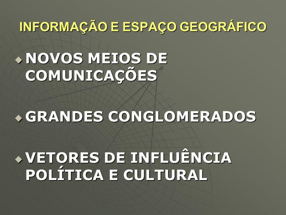 INFORMAÇÃO E ESPAÇO GEOGRÁFICO  NOVOS MEIOS DE COMUNICAÇÕES  GRANDES CONGLOMERADOS  VETORES DE INFLUÊNCIA POLÍTICA E CULTURAL