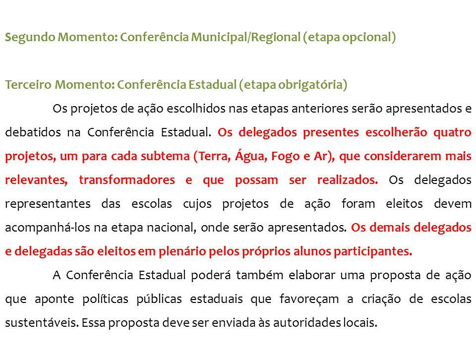 Segundo Momento: Conferência Municipal/Regional (etapa opcional) Terceiro Momento: Conferência Estadual (etapa obrigatória) Os projetos de ação escolh