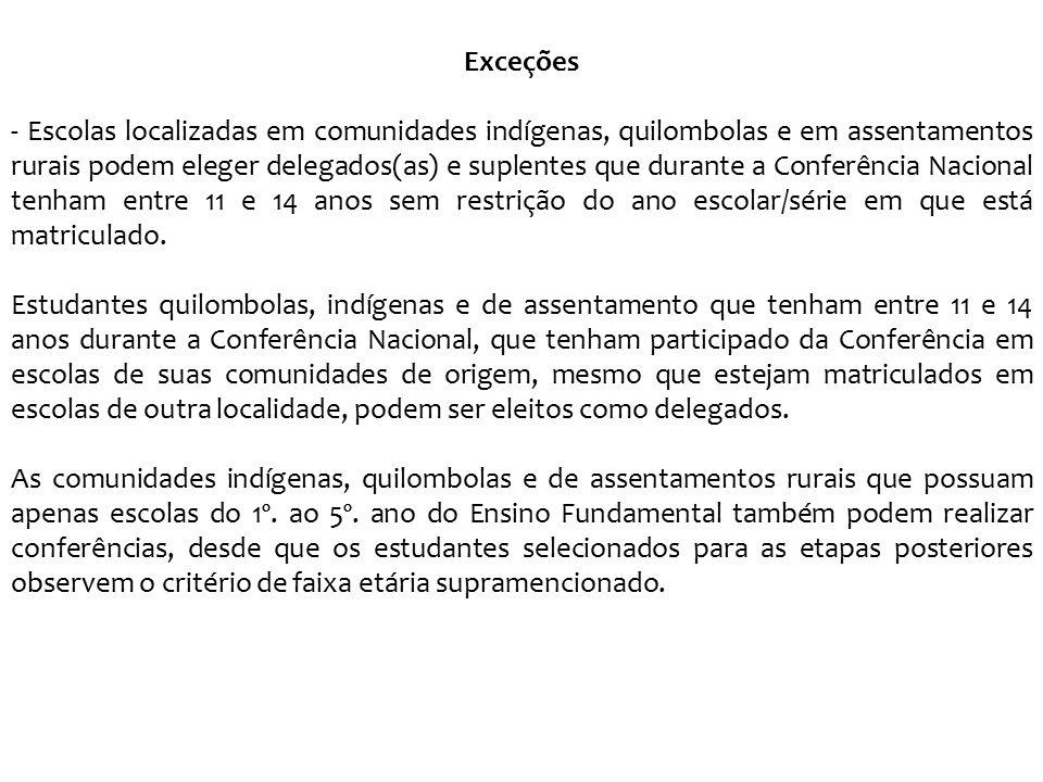 Exceções - Escolas localizadas em comunidades indígenas, quilombolas e em assentamentos rurais podem eleger delegados(as) e suplentes que durante a Co