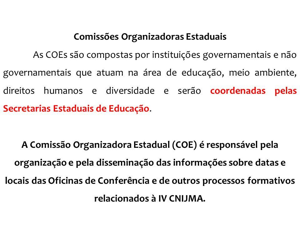 Comissões Organizadoras Estaduais As COEs são compostas por instituições governamentais e não governamentais que atuam na área de educação, meio ambie