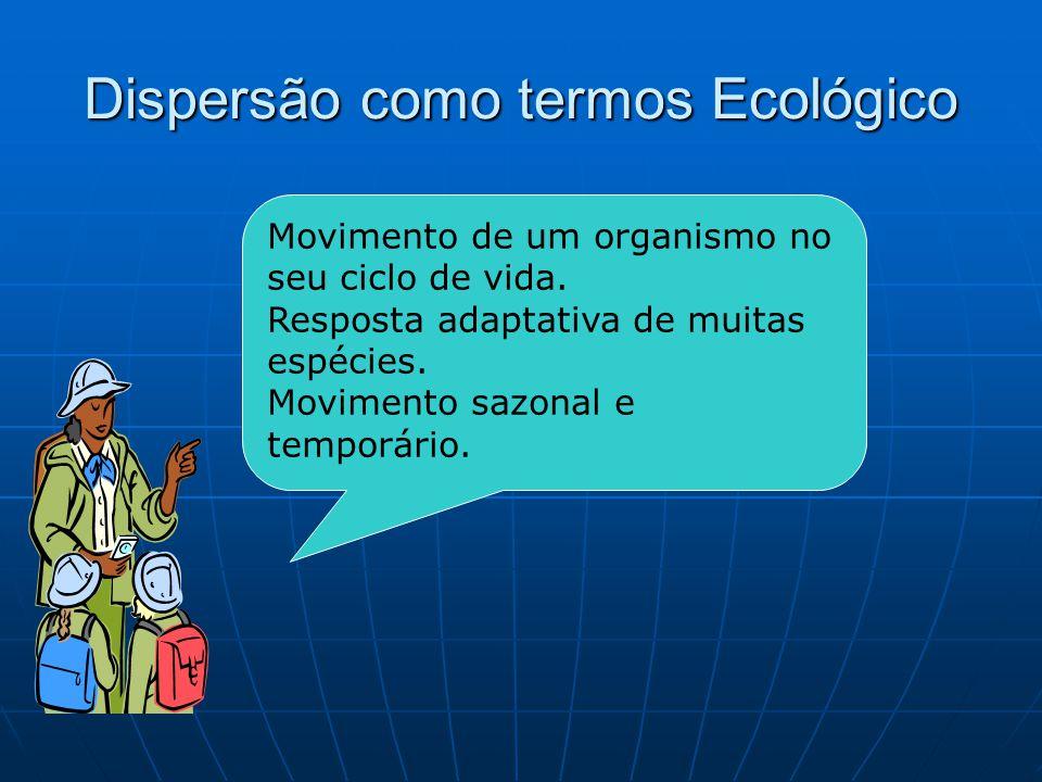 Dispersão como termos Ecológico Movimento de um organismo no seu ciclo de vida. Resposta adaptativa de muitas espécies. Movimento sazonal e temporário